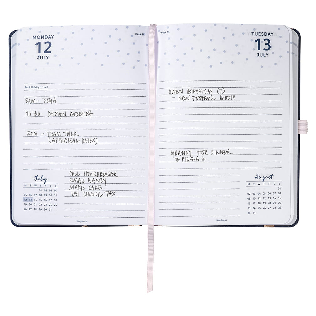 Busy B Day a page diary 2021 Navy spot interno 1